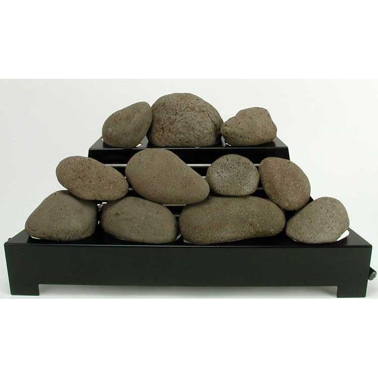 Rasmussen 24 Inch Brown Alterna See-thru Firestone Set With Vent Free Natural Gas Black Chassis Burner - Variable Flame Remote at Sears.com