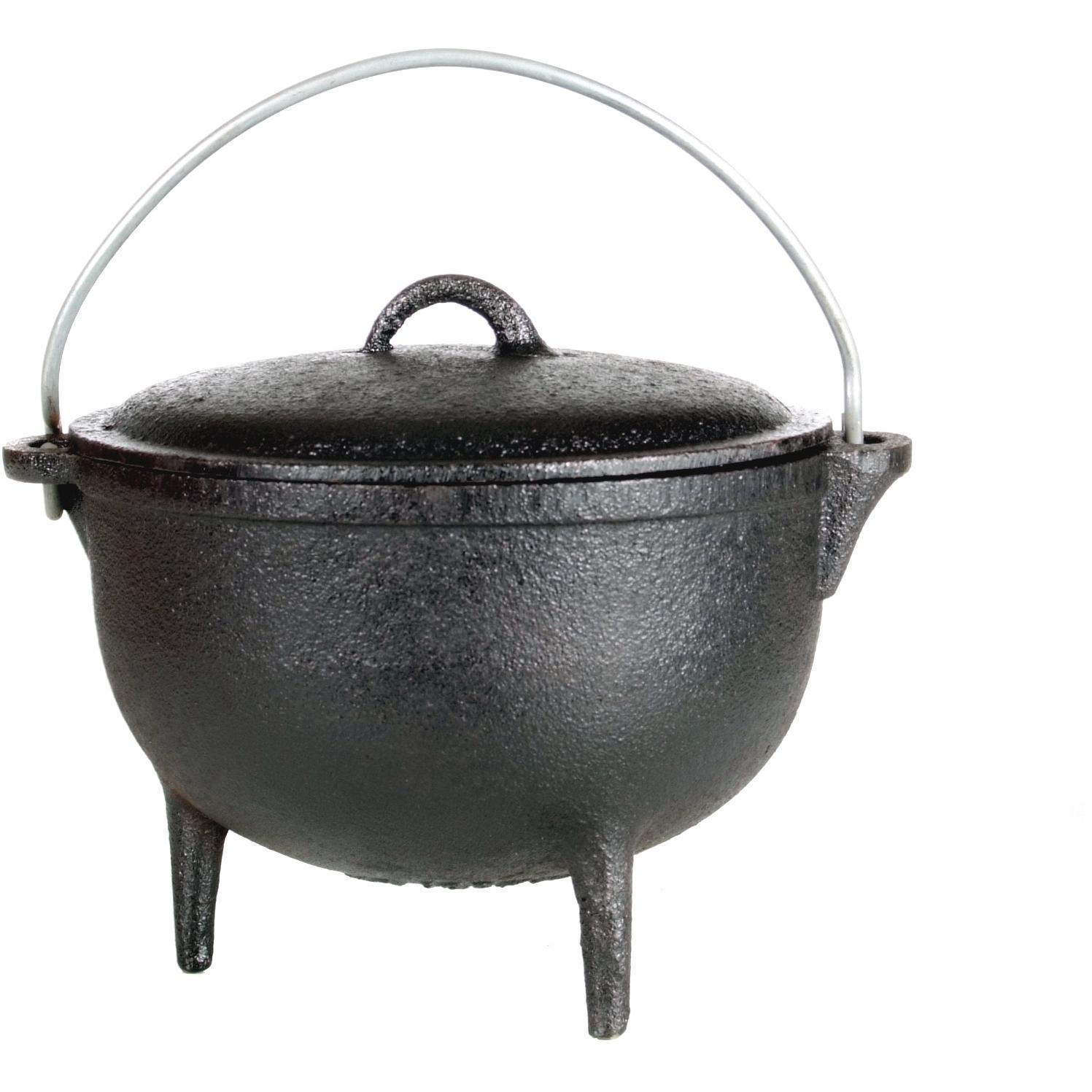 Cajun cookware quart seasoned cast iron camp pot with