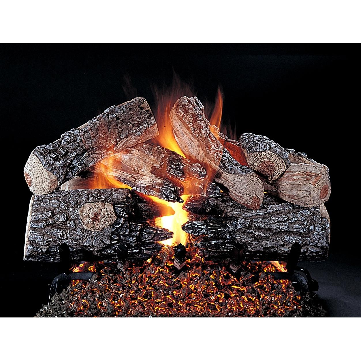 Rasmussen 24 Inch Evening Prestige Gas Log Set With Vented Natural Gas Ansi Certified Flaming Ember Xtra Burner - Variable... ...