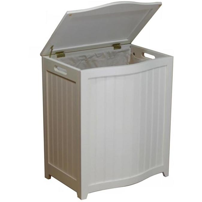 Oceanstar Laundry Hamper In White Finished Wood With Interior Bag - BHP0106W