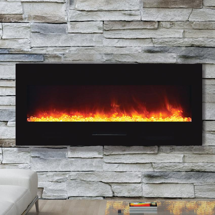 "Amantii Wall Mount/flush Mount 50"" Electric Fireplace With Black Glass Surround - Wm-fm-50-bg"