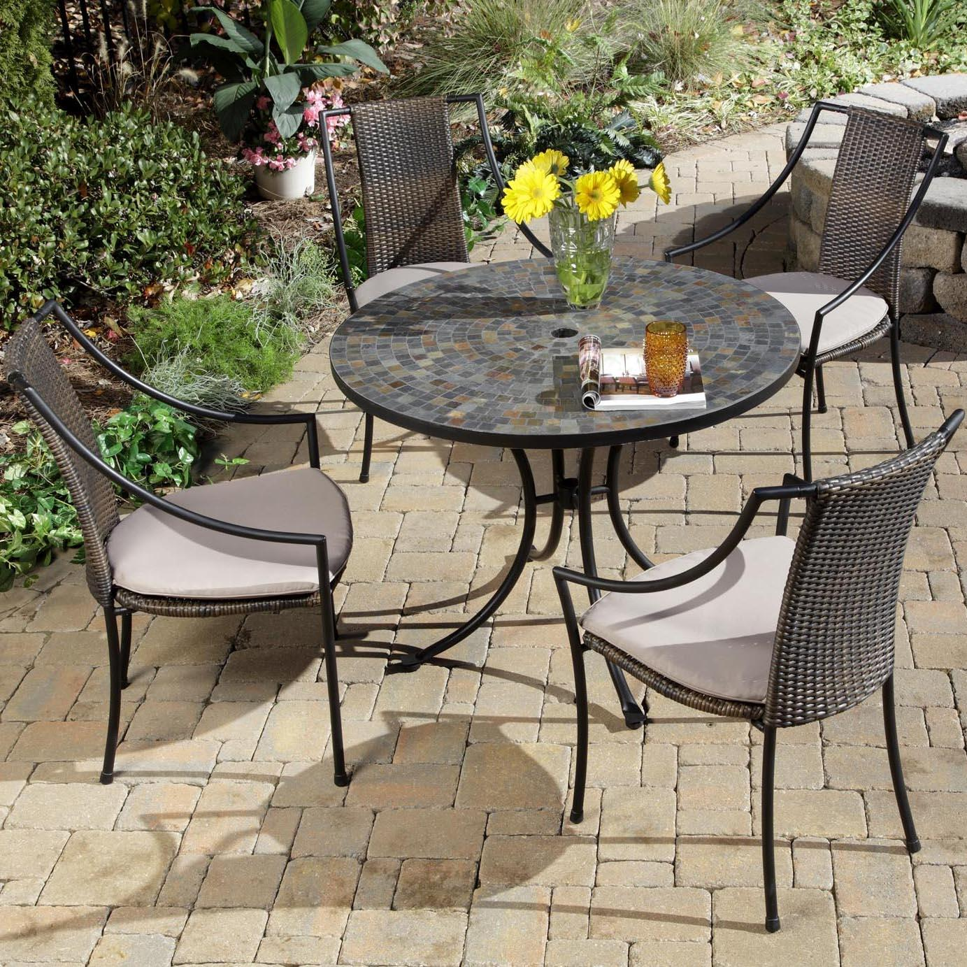 Home Styles Stone Harbor And Laguna 4-person Resin Wicker Patio Dining Set With Mosaic Table Top - Black at Sears.com