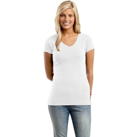 District Junior Ladies Perfect Fit 1x1 V-Neck T-Shirt Large - Bright White 2761096