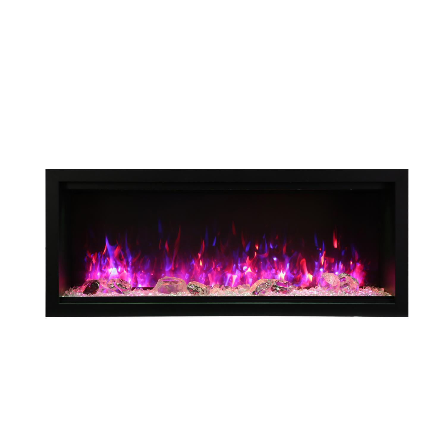 """Amantii Symmetry Series Extra Tall 50"""" Built-in Electric Fireplace With Black Steel Surround - Ice Media Kit - Indoor/outdoor - Sym-50-xt"""