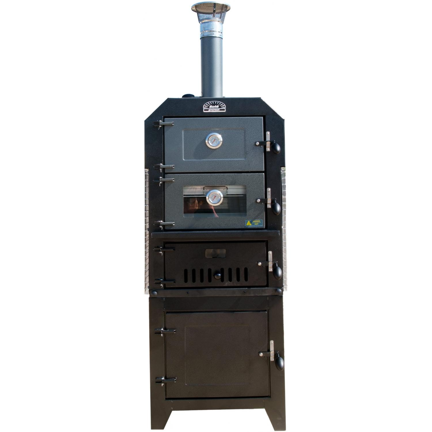 Sole Gourmet Wood-Fired Pizza & Smoker Double Oven With Storage Cart