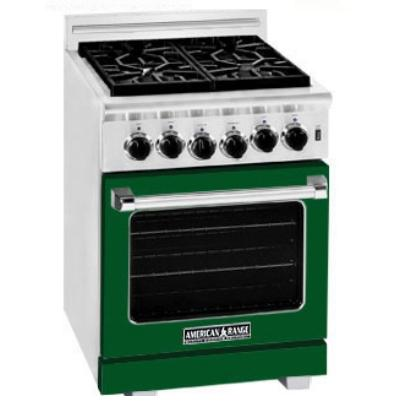 American Range ARR-244 24 Inch Natural Gas Range With 4 Burners - Forrest Green