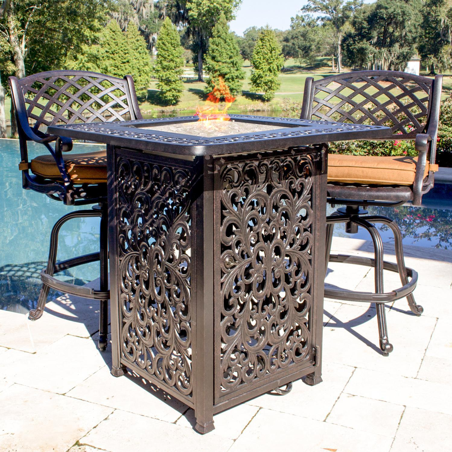 Heritage 2 Person Cast Aluminum Patio Counter Height Fire