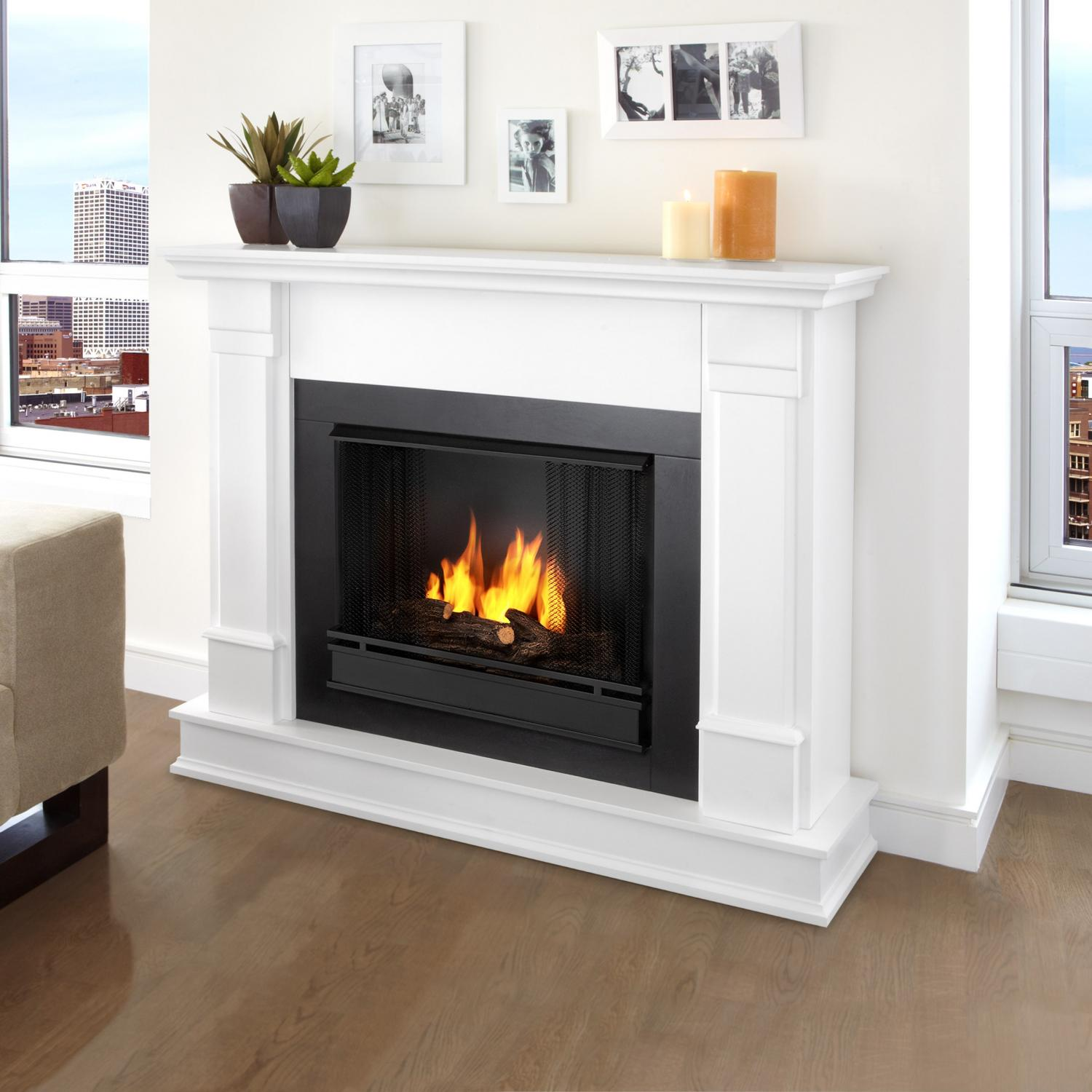 Real Flame Silverton 48-Inch Gel Fireplace - White