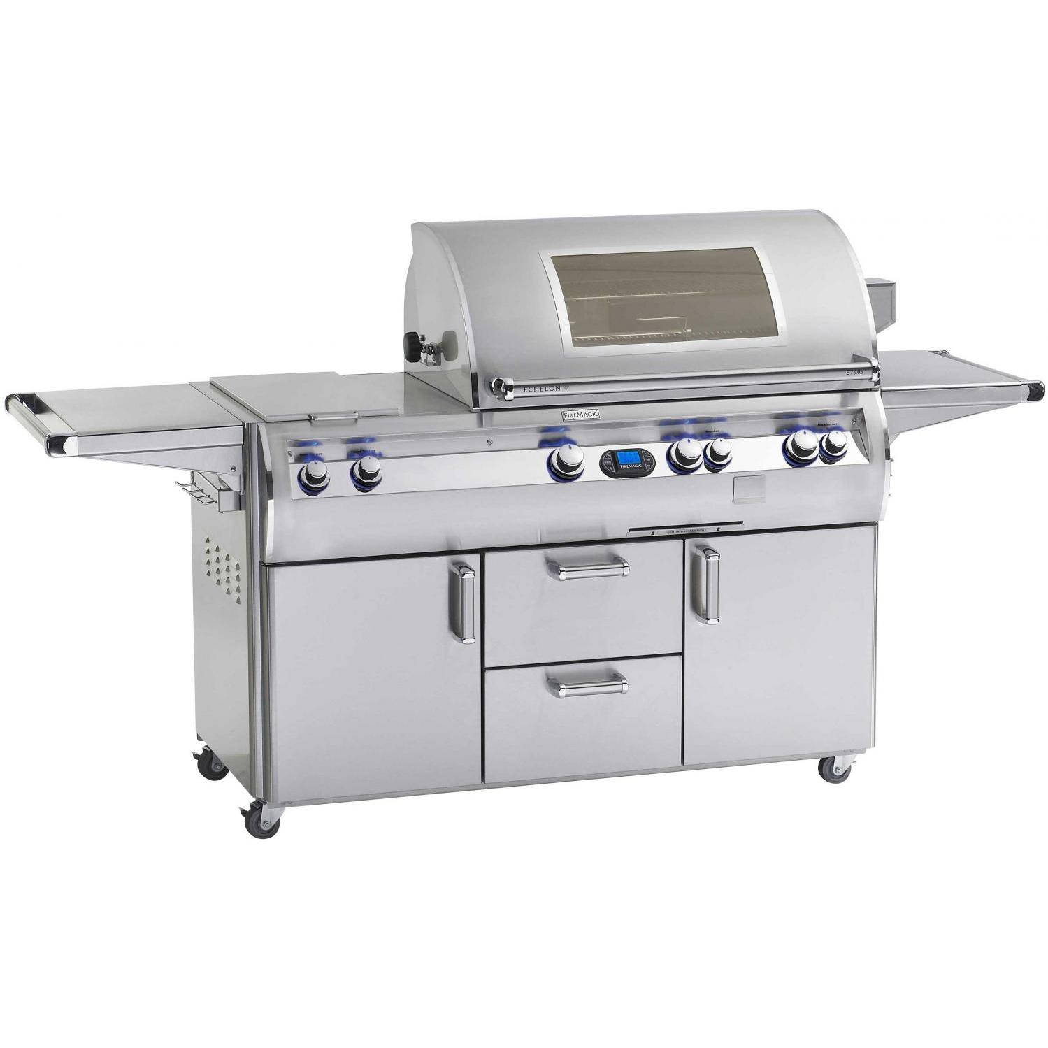 Fire Magic Echelon Diamond E660s Natural Gas Grill With Double Side Burner, Power Hood And Magic View Window On Cart at Sears.com
