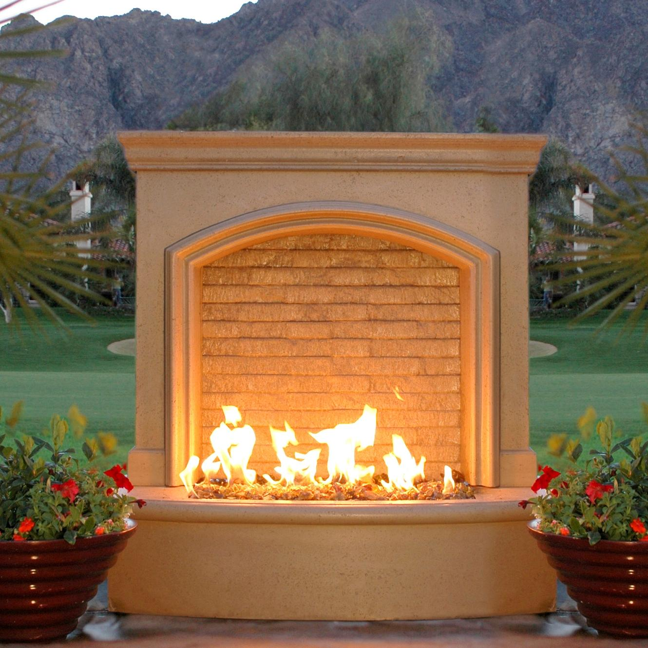 American Fyre Designs 46-inch Outdoor Natural Gas Small Firefall - Cafe Blanco