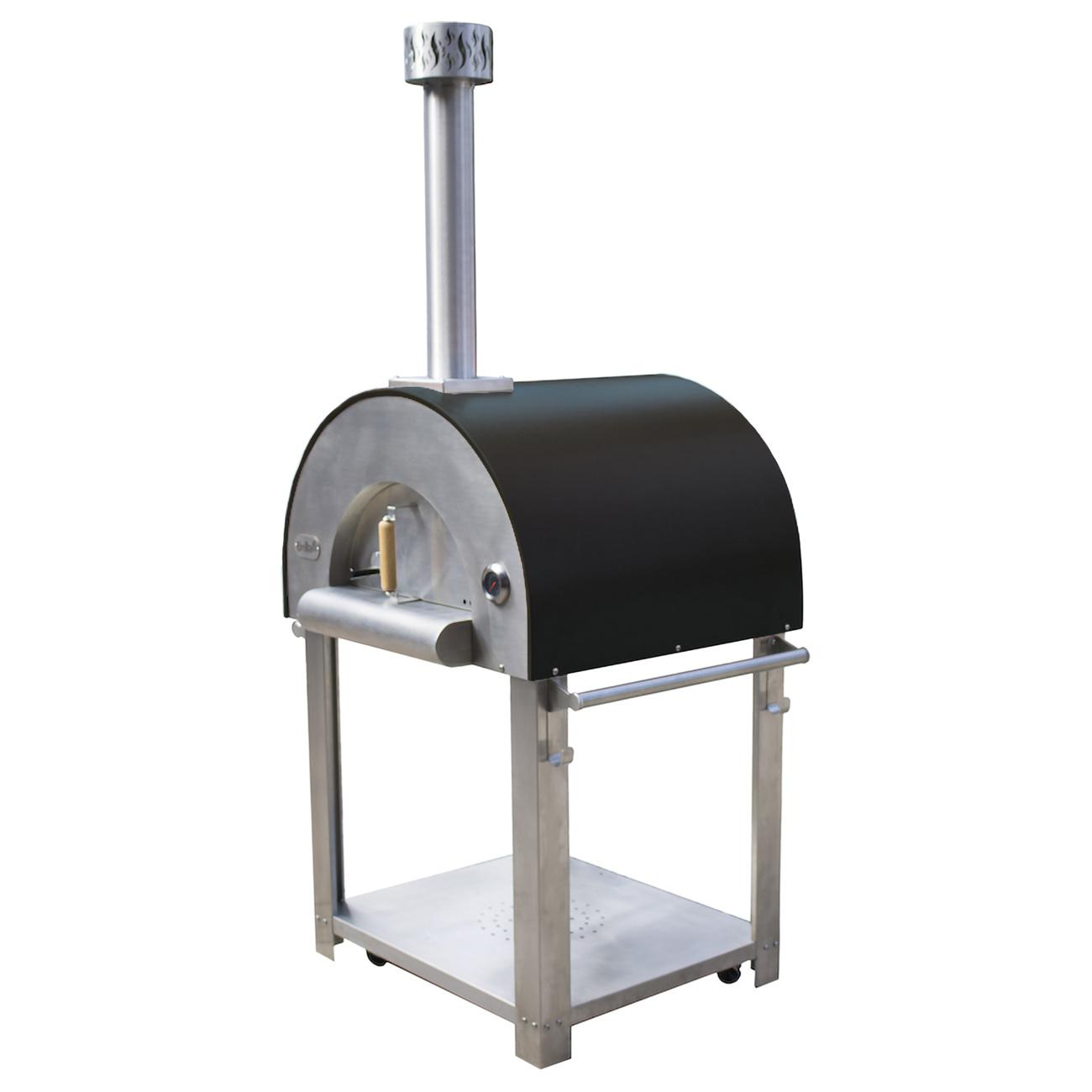 "Bella Outdoor Living Bella Medio 28"" Outdoor Wood Fired Pizza Oven On Cart - Black - Bems28b"