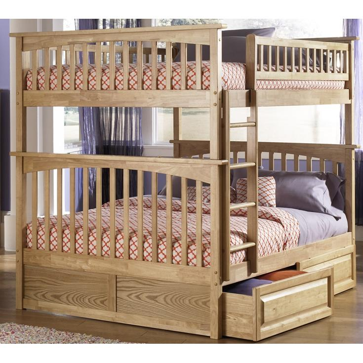 Atlantic Furniture 2021501 Columbia Twin / Full Bed Natural Maple W/ Raised Panel Drawers