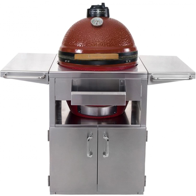 Kamado Joe ClassicJoe Ceramic Grill On Stainless Steel Cart - Red, Discount ID KJ23NR KJ-SST
