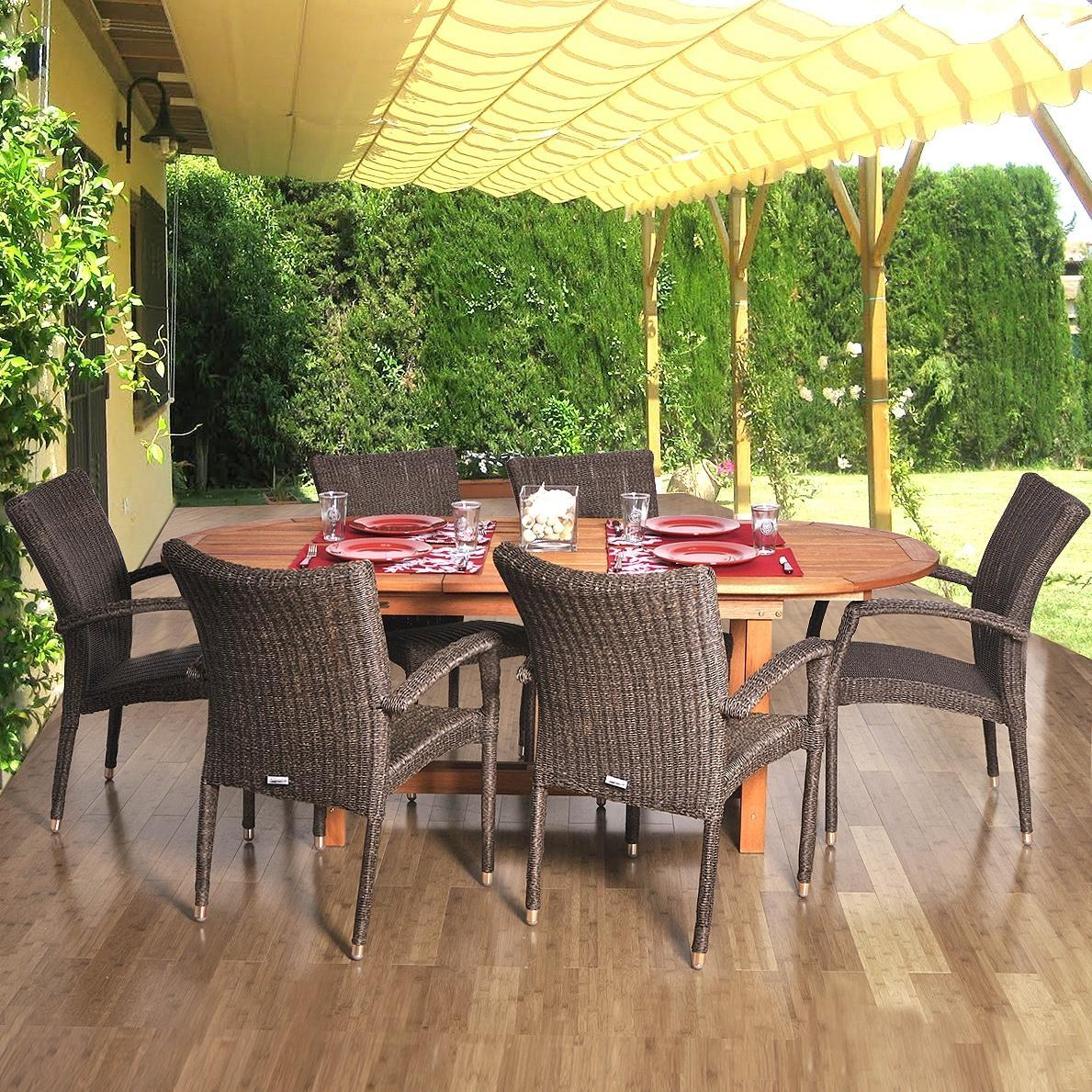 Amazonia Lemans Deluxe 6-Person Resin Wicker Patio Dining Set With Extension Table And Stacking Chairs 2866258