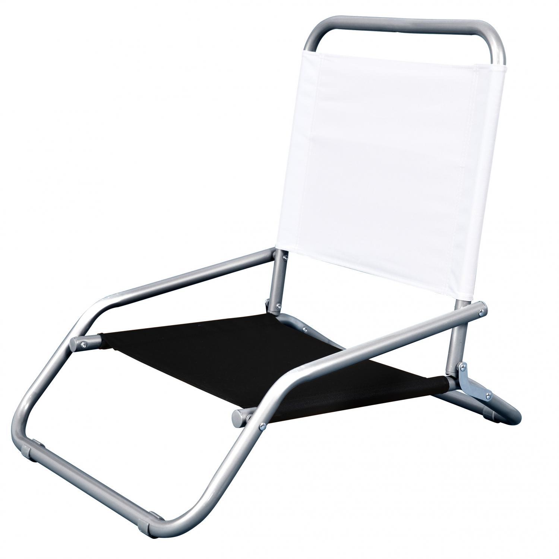 Astella Classic Folding Steel Beach Chair - White & Black - Bc11-p11/p34