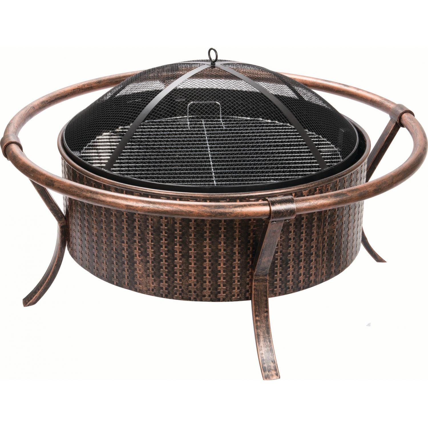 Alpine Flame 37-inch Copper And Black Outdoor Wood Burning Fire Pit With Weave Design at Sears.com