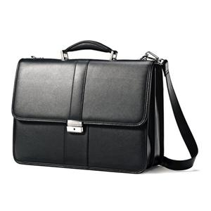 Samsonite Flapover Leather Business Case - Black