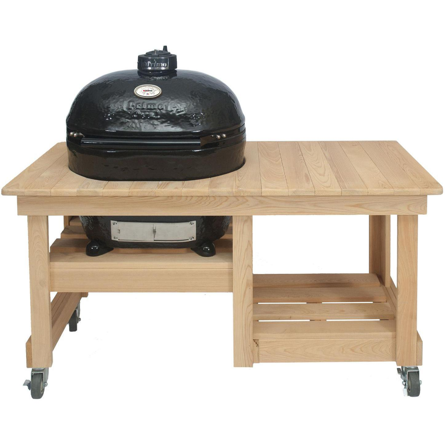 Primo Oval XL Ceramic Kamado Grill On Countertop Cypress Table - 778 + 612