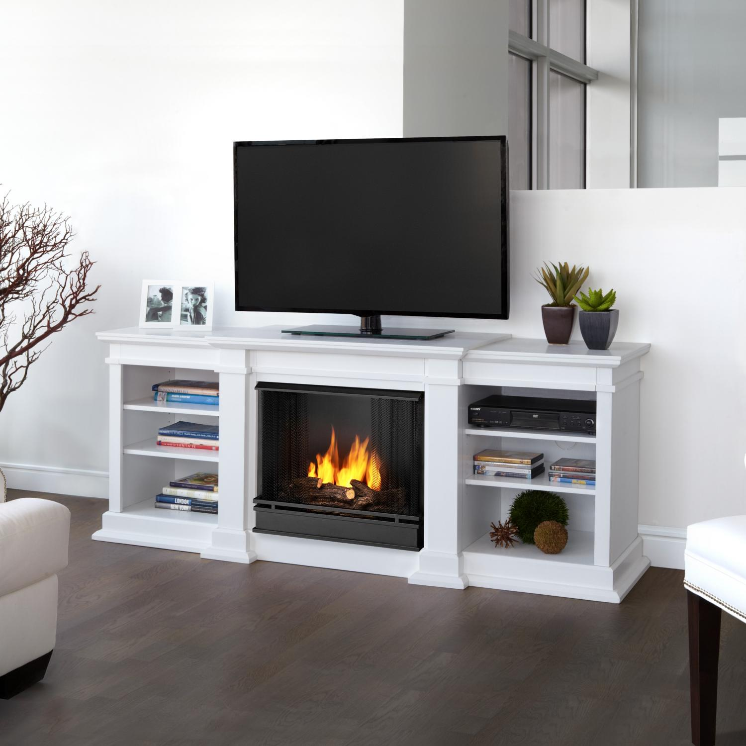 Real Flame Fresno 71-Inch Gel Fireplace Media Console - White