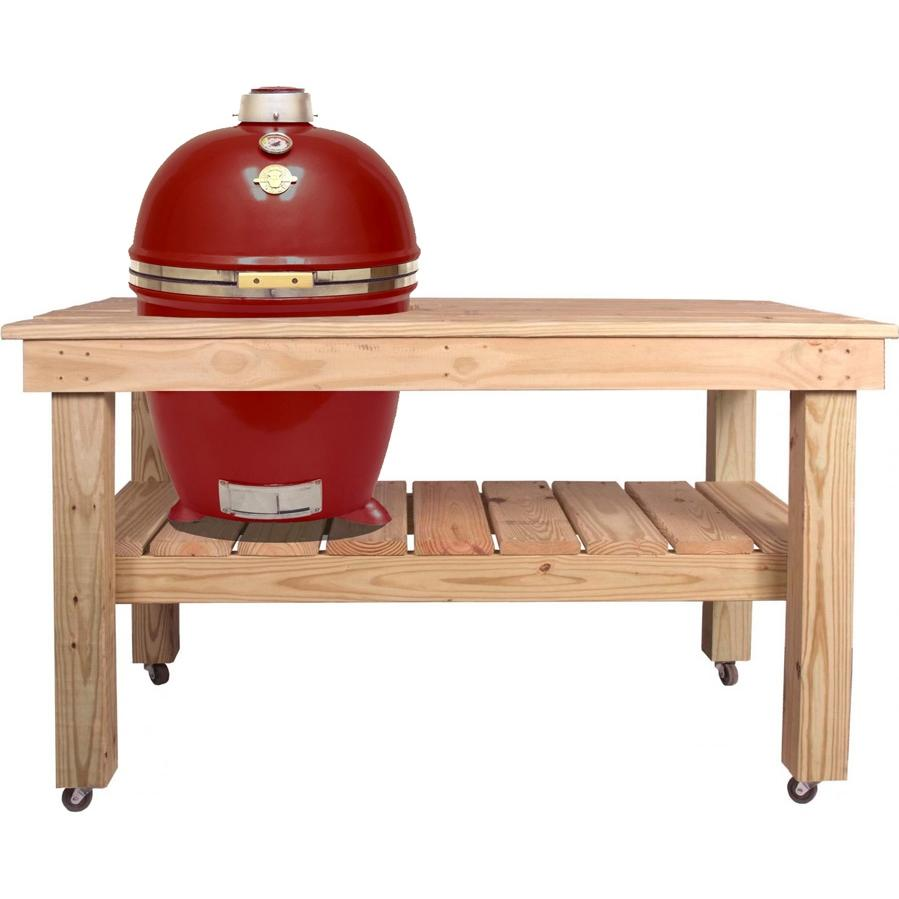 Grill Dome Infinity Series XL Kamado Grill On Cypress Table - Red, Discount ID GDXL-RD CYP-CART-XL