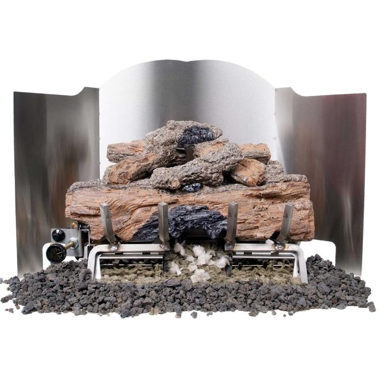 Peterson Gas Logs 18 Inch 3-Fold Traditional Stainless Steel Fireback
