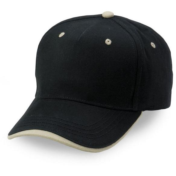 Cobra Caps Heavy Brushed Cotton Wave Sandwich Cap - Black/Khaki