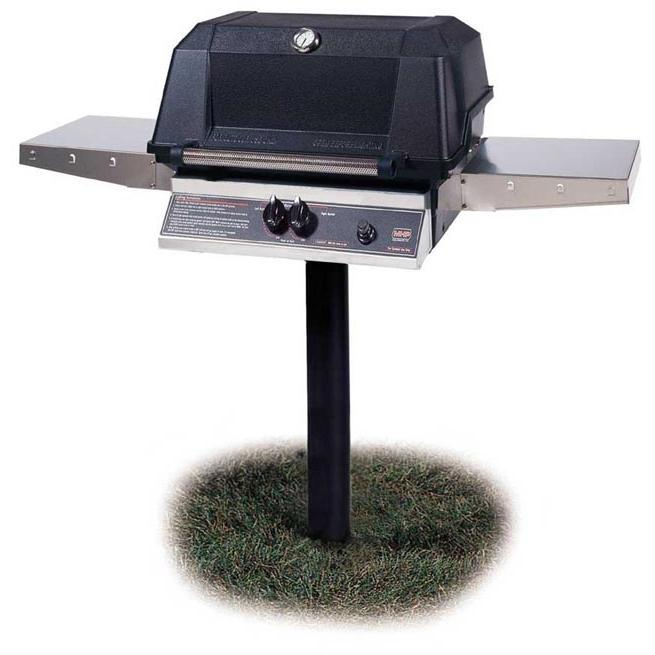MHP Gas Grills WNK4DD Propane Gas Grill W/ SearMagic Grids On In-Ground Post