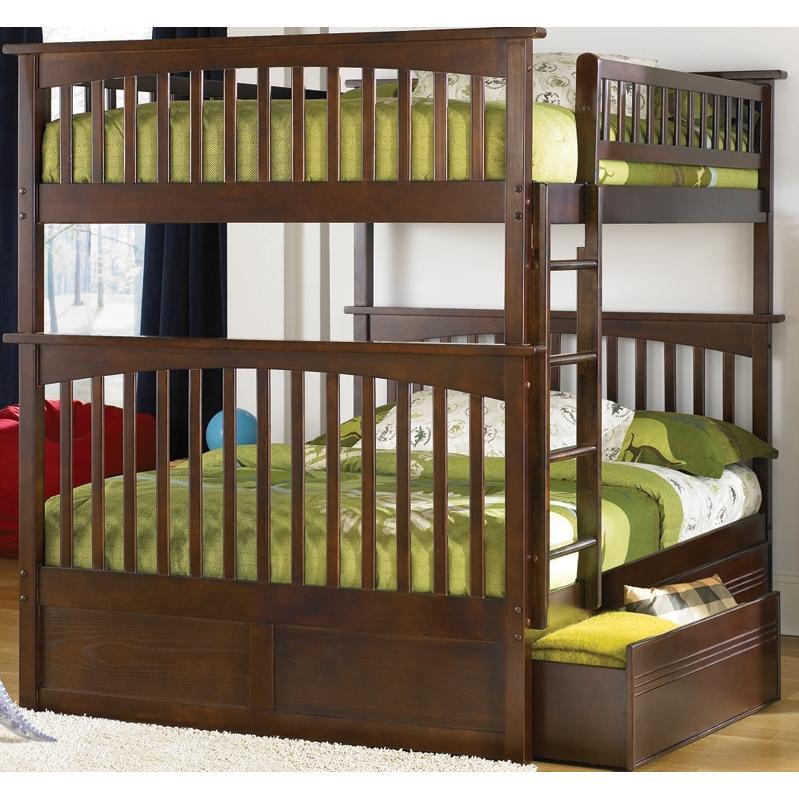 Atlantic Furniture 2021400 Columbia Twin / Full Bed Antique Walnut