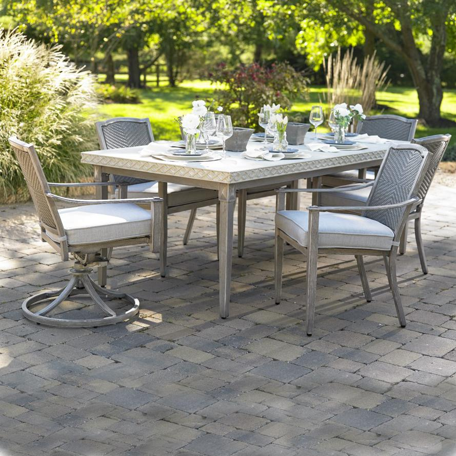 Plank & Hide Pelham 7 Piece Cast Aluminum Patio Dining Set W/ 2 Swivel Rockers and Sunbrella Cast Silver Cushions - 20014-BRL + 20015-BRL + 20012-BRL