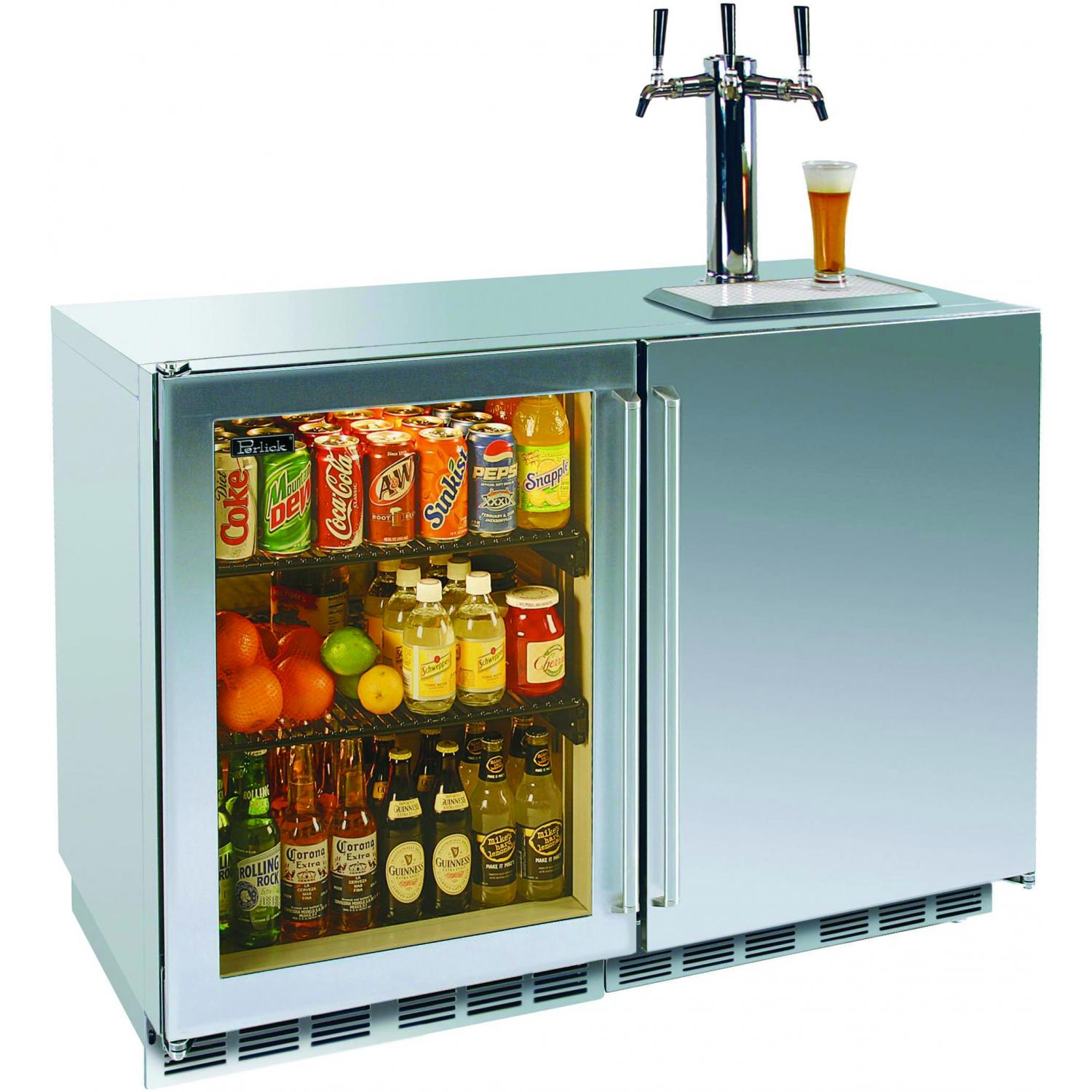 Perlick Refrigerator / Triple Tap Kegerator - Glass Left Door / Stainless Steel Right Door / Stainless Steel Cabinet - HP48RT-S-3L-1R3