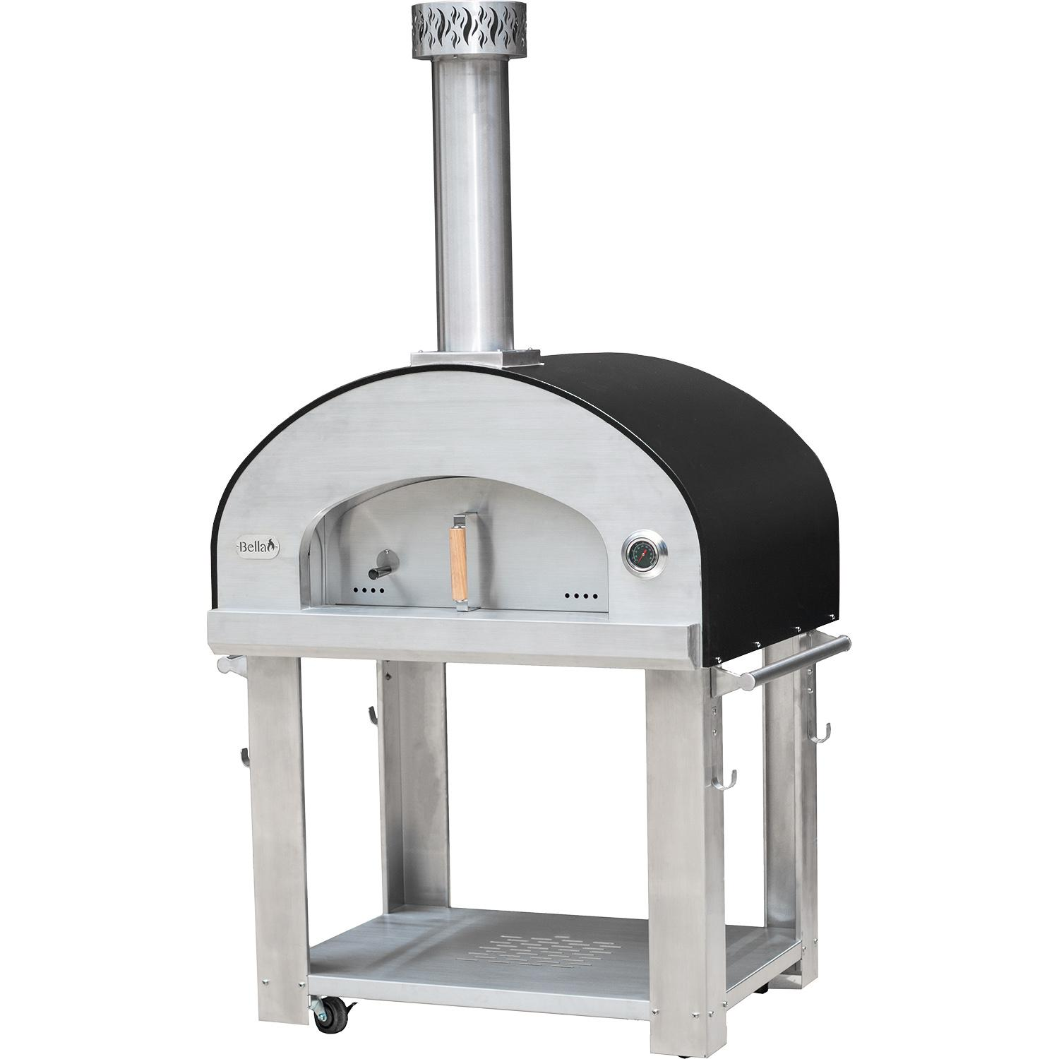 "Bella Outdoor Living Bella Grande 36"" Outdoor Wood Fired Pizza Oven On Cart - Black - Begs36b"