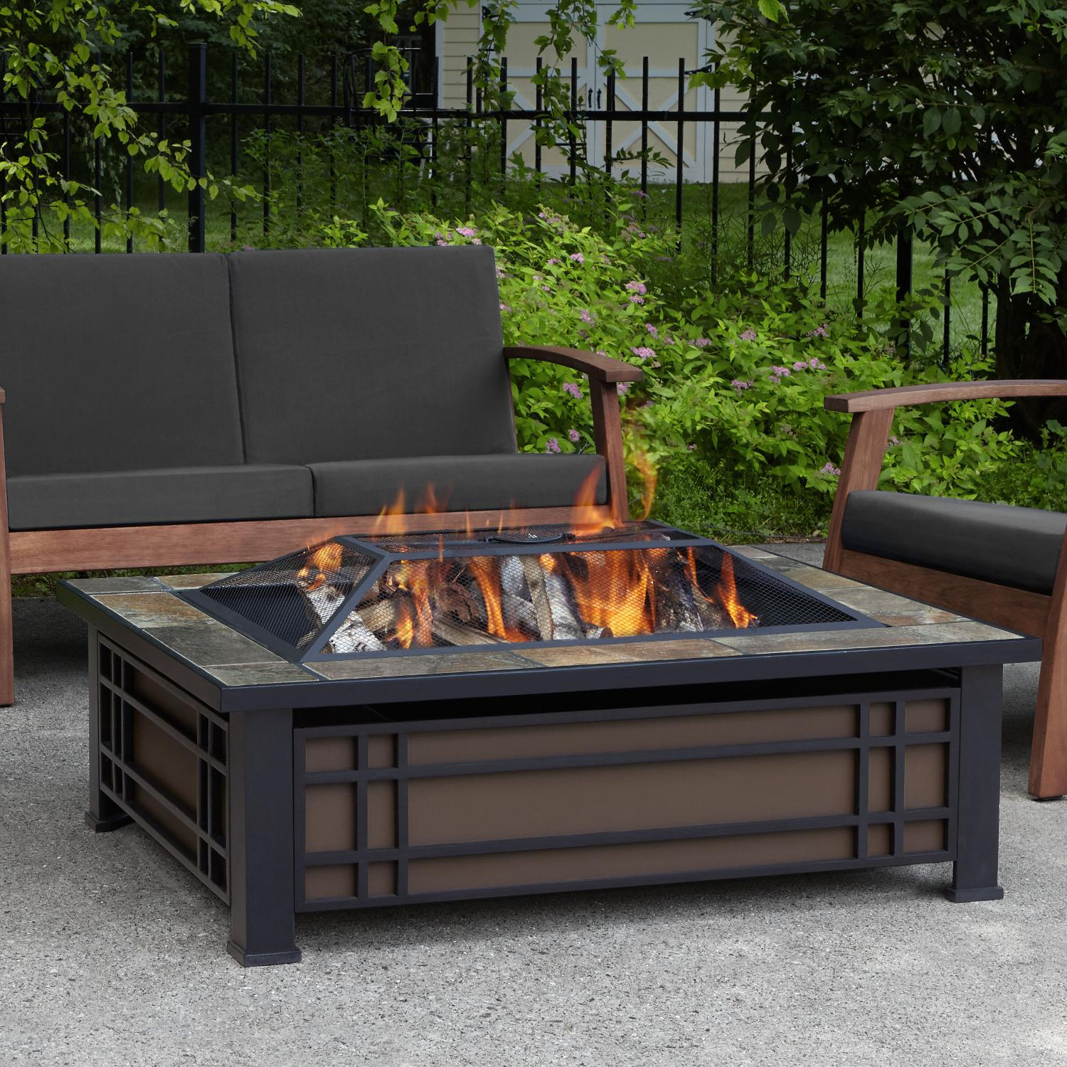 Real Flame Hamilton 43-Inch Rectangle Wood Burning Fire P...