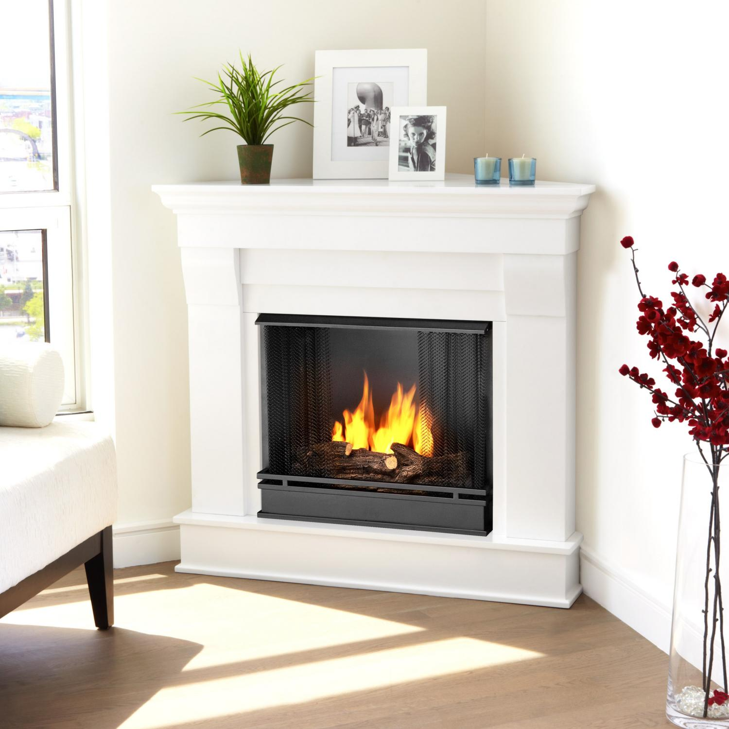 Real Flame Chateau 40-Inch Corner Gel Fireplace - White