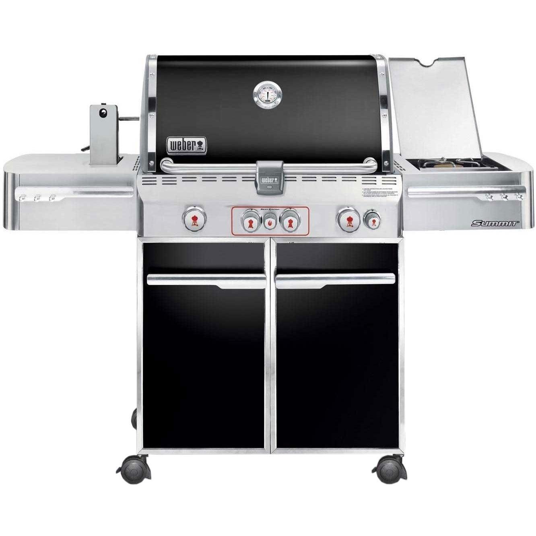 weber summit e 470 propane gas grill on cart with rotisserie sear burner side burner black. Black Bedroom Furniture Sets. Home Design Ideas