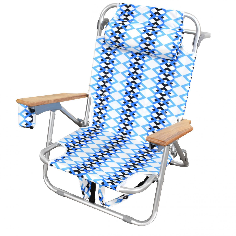 Astella Folding Aluminum Backpack Beach Chair W/ Storage Pouch - Azure Braid - Bc20-p5-205