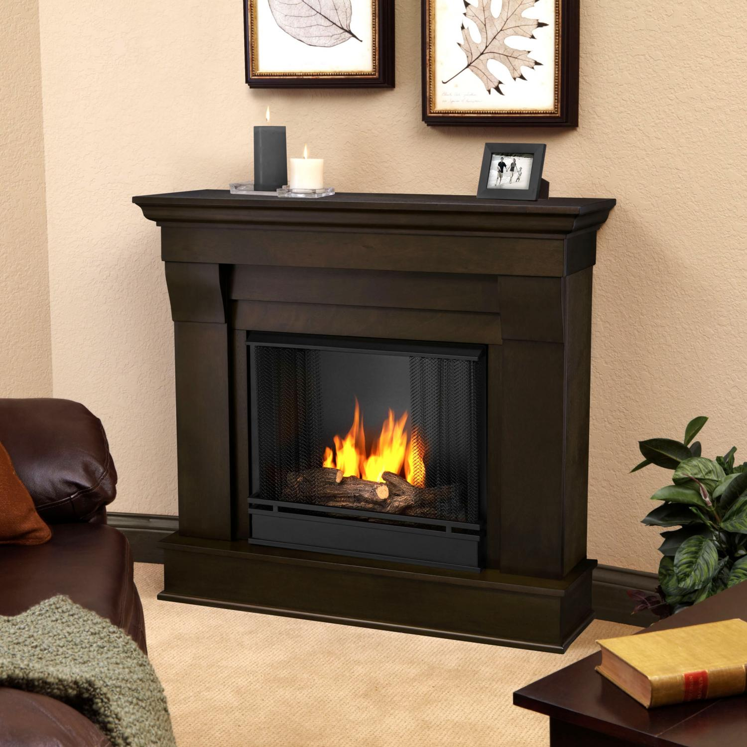 Real Flame Chateau 40-Inch Gel Fireplace - Dark Walnut