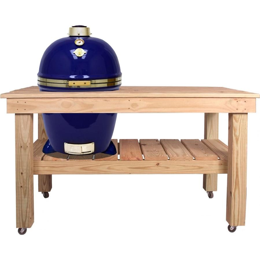 Grill Dome Infinity Series Large Kamado Grill On Cypress Table - Blue, Discount ID GDL-BL CYP-CART-L