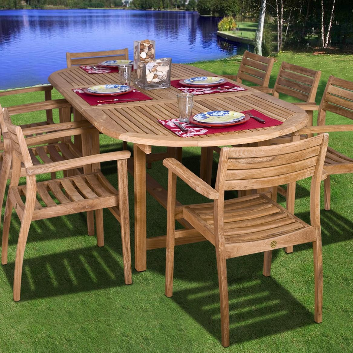 Amazonia Teak Coventry 8-person Teak Patio Dining Set With Extension Table And Stacking Chairs