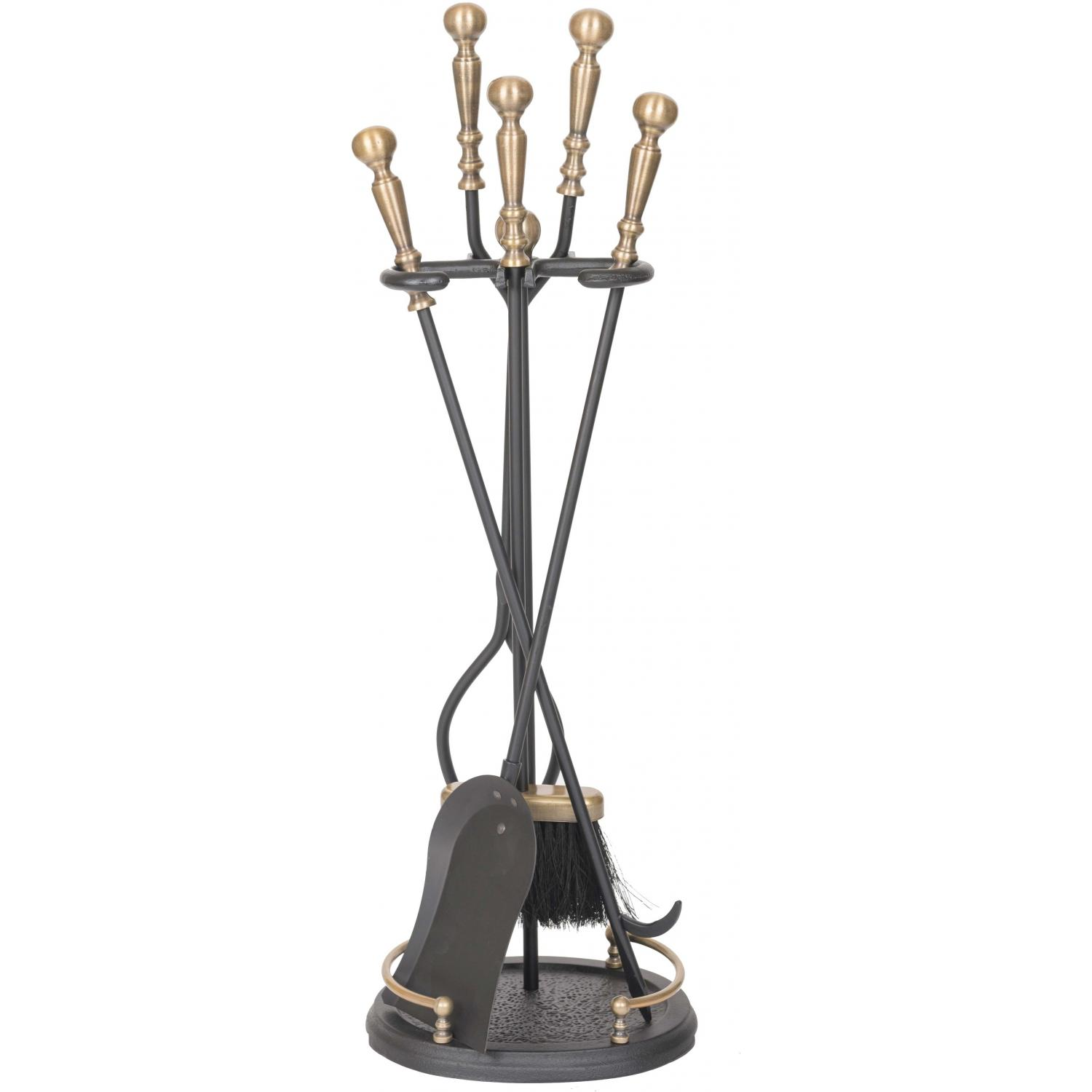 Picture of Alpine Flame 5-Piece Antique Brass/Black Fireplace Tool Set