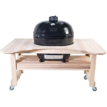 Primo Ceramic Charcoal Smoker Grill On Curved Cypress Table - Oval XL, Discount ID 778 600