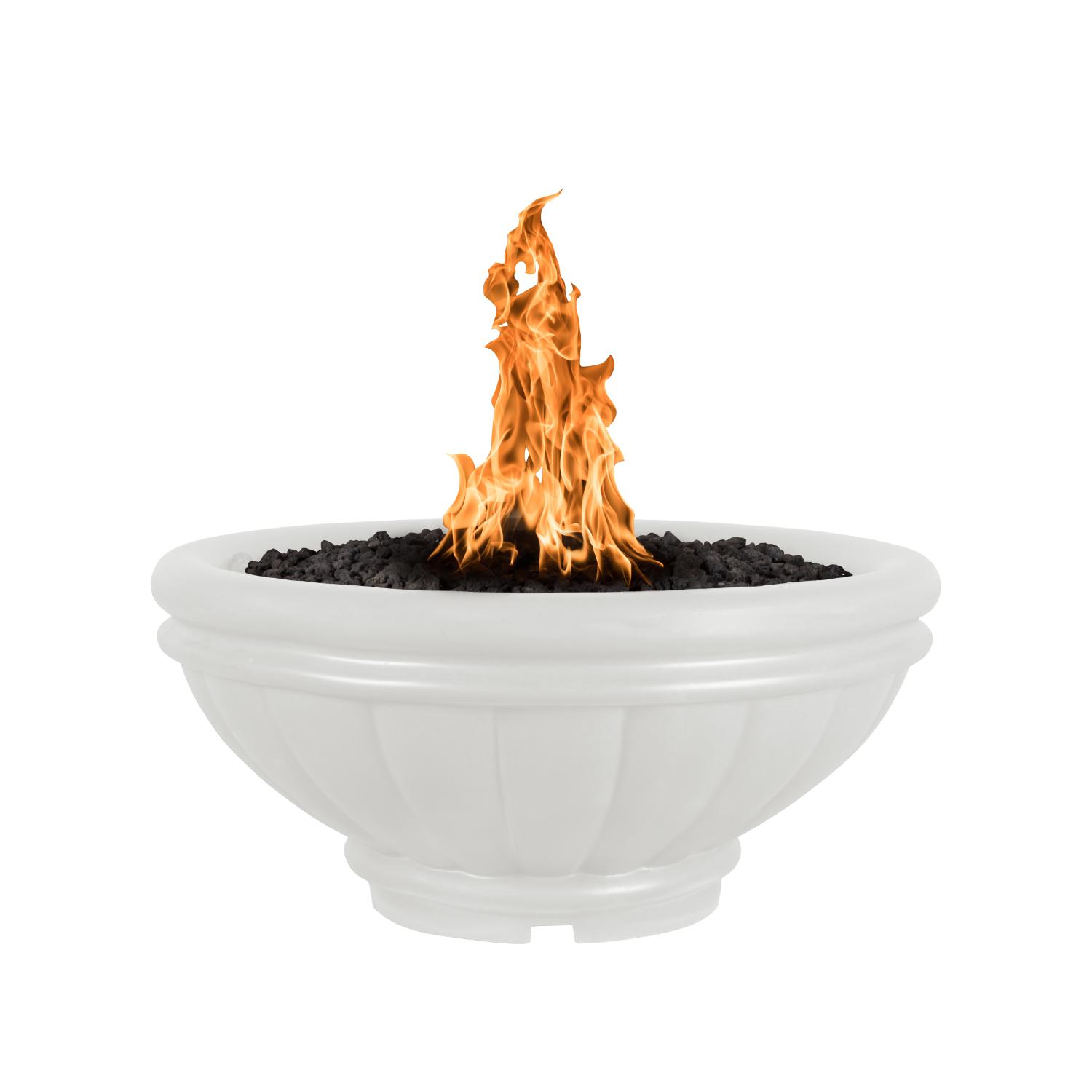 The Outdoor Plus Top Fires by Roma 24 Natural Gas Fire Bowl - Limestone Concrete - Match Light - OPT-ROM24-LIM-NG