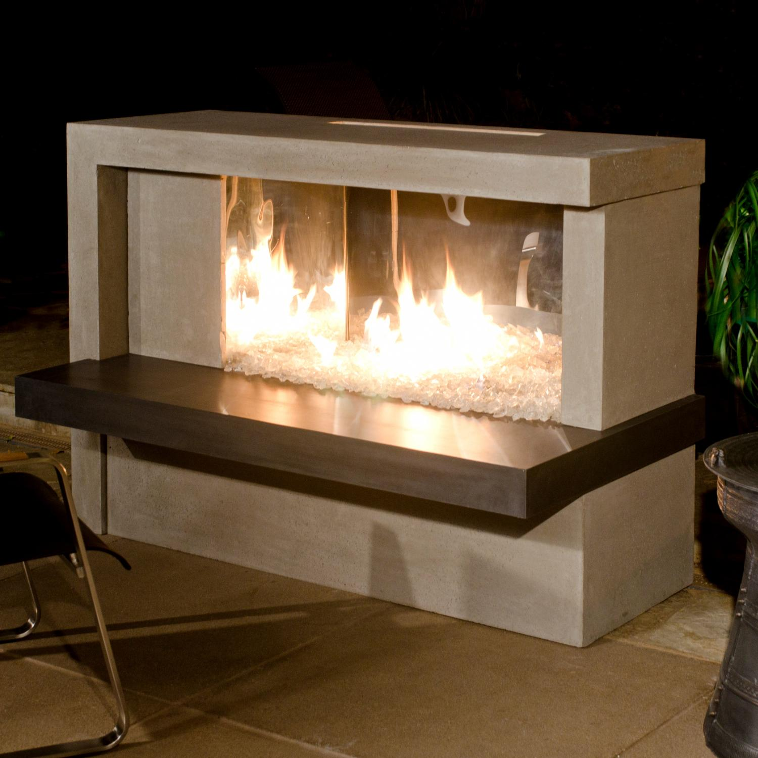 American Fyre Designs Manhattan 59-inch Outdoor Propane Gas Fireplace - Cafe Blanco