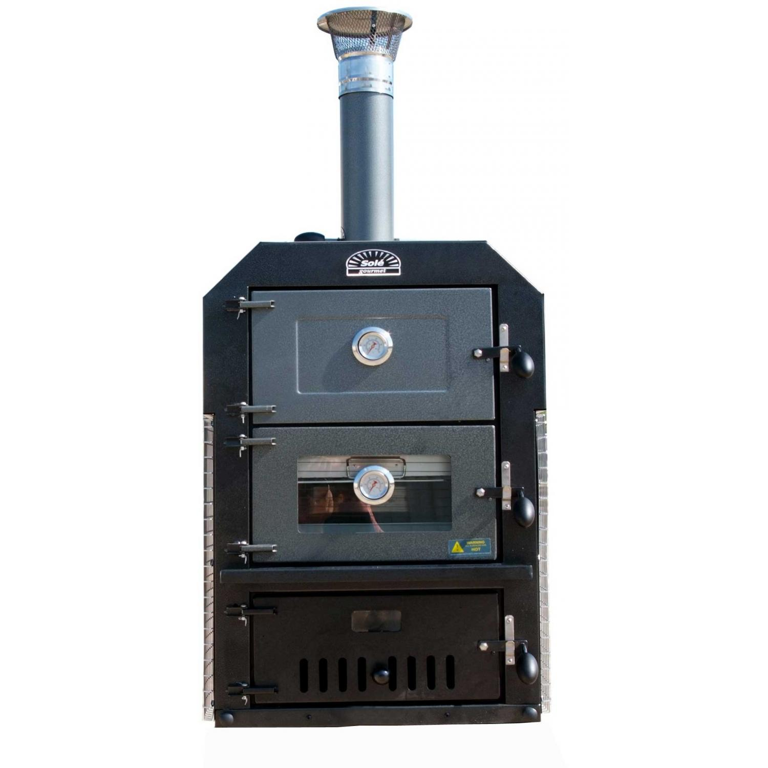 Sole Gourmet Wood-Fired Pizza & Smoker Double Oven