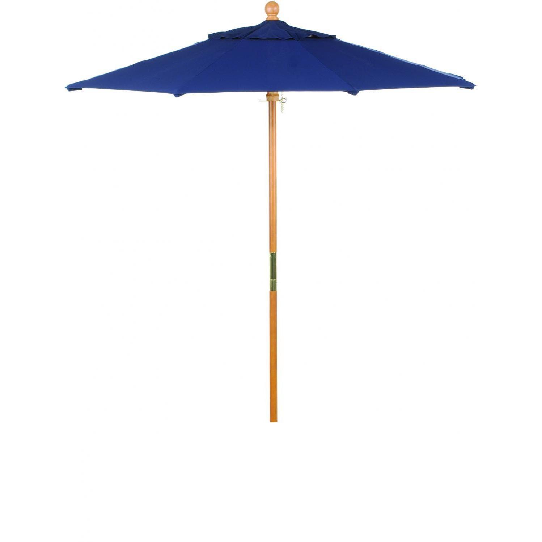 Oxford Garden 6 Ft. Octagon Wood Patio Umbrella With Push Lift - Canvas Navy Blue
