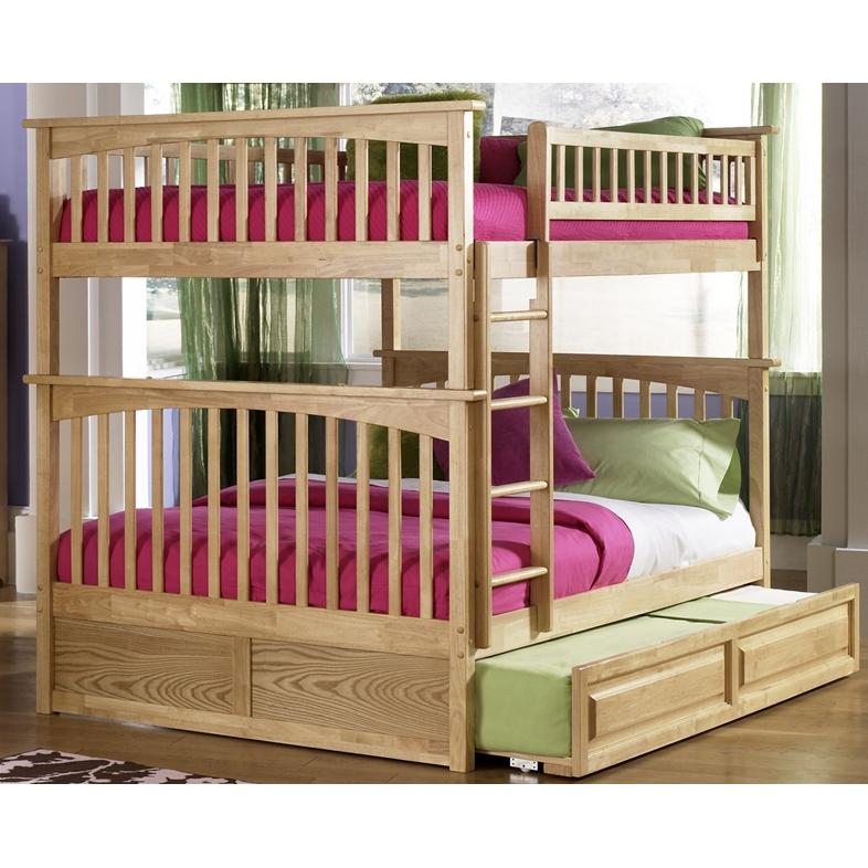 Atlantic Furniture 2021505 Columbia Twin / Full Bed Natural Maple W/ Trundle