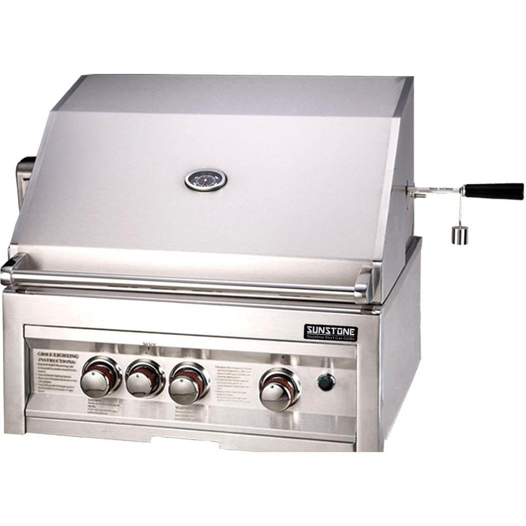 Sunstone Grills 28 Inch 3 Burner Propane Gas Grill With Rotisserie 2764848