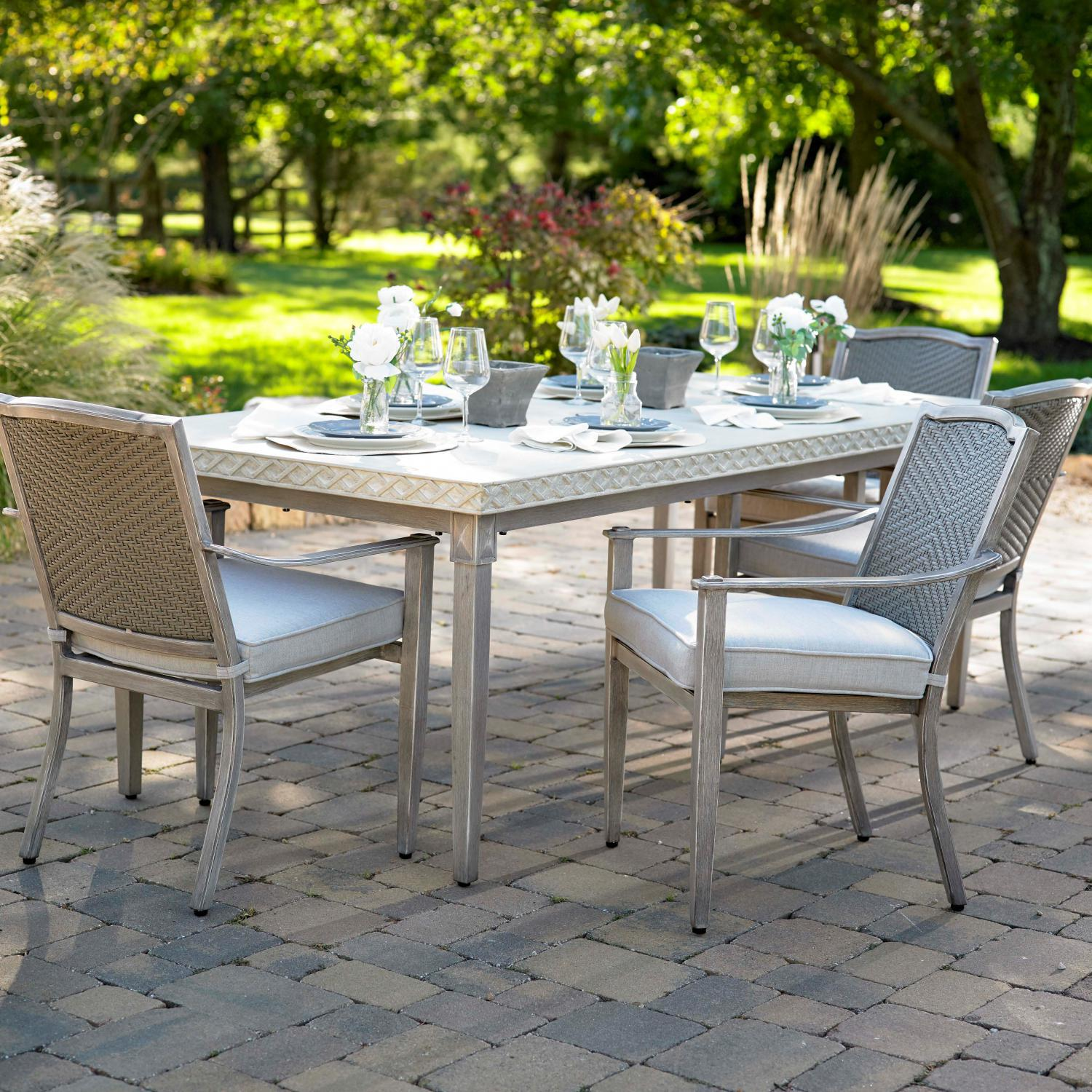Plank & Hide Pelham 5 Piece Cast Aluminum Patio Dining Set W/ Sunbrella Cast Silver Cushions - 20014-BRL + 20012-BRL