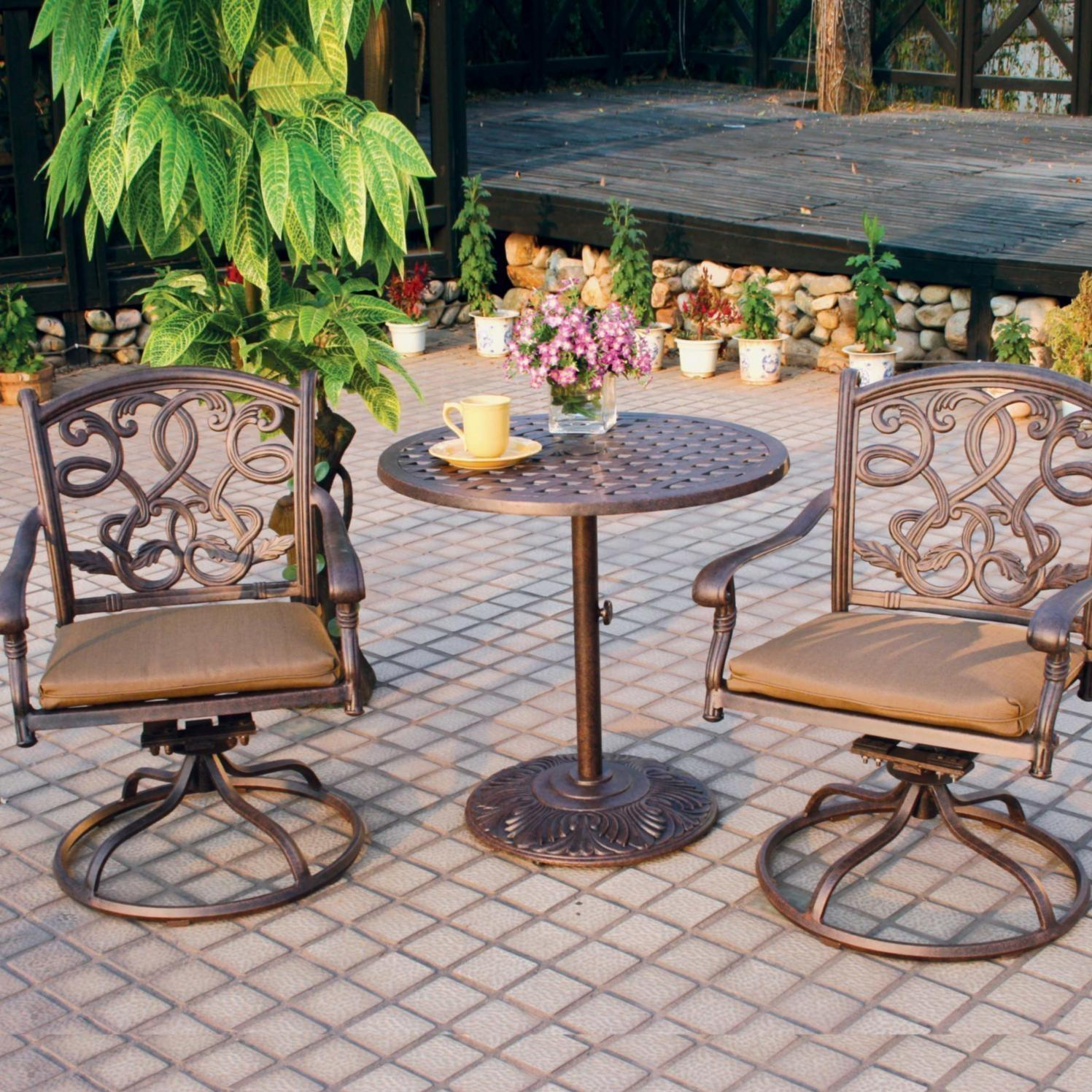 Darlee Santa Monica 2-person Cast Aluminum Patio Bistro Set - Antique Bronze at Sears.com