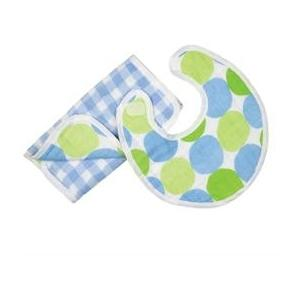 Elegant Baby Swaddle Collection Bib And Burpcloth Set - Blue