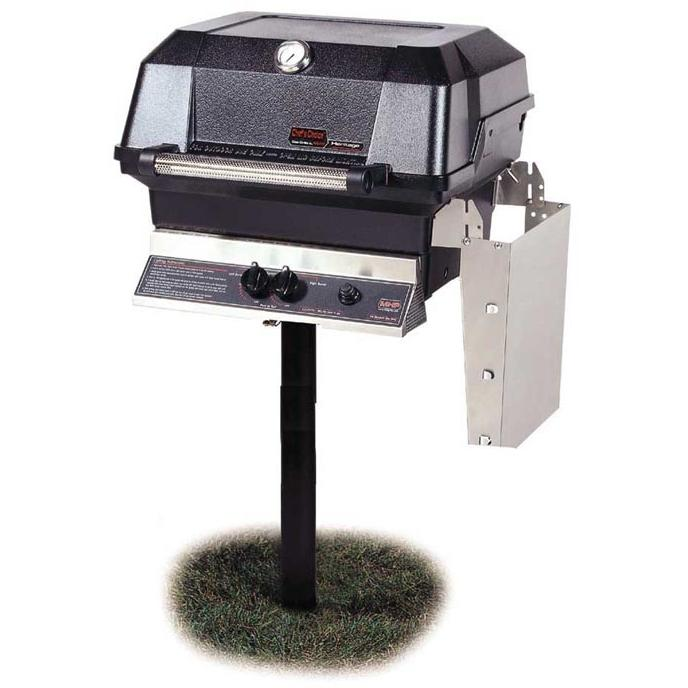 MHP Gas Grills JNR4DD Propane Gas Grill W/ SearMagic Grids On In-Ground Post